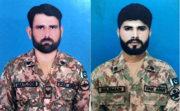 A file photo of Havaldar Matloob Alam, age 32 years and Sepoy Suleman Shaukat age 25 years embraced Shahadat as terrorists fired on security forces check post near Pash Ziarat, South Waziristan late last night