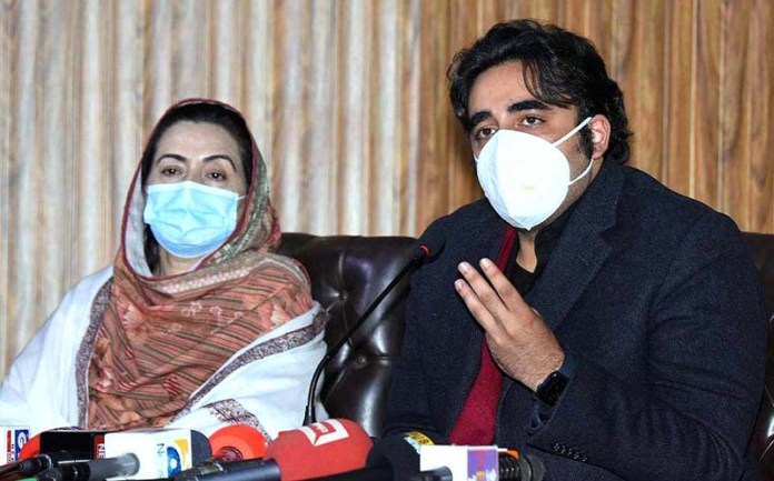 Chairman Pakistan People's Party Bilawal Bhutto Zardari addressing a press conference at Press Club