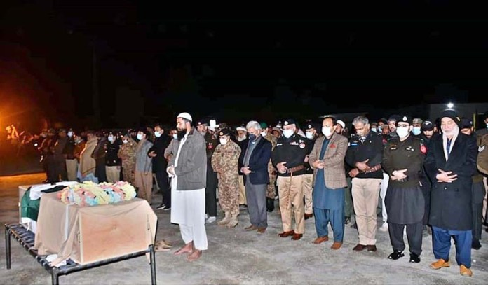Chief Secretary Gilgit-Baltistan Khurram Agha, FCNA Force Commander Jawad Qazi and IGP Gilgit-Baltistan Dr. Mujeeb Ur Rehman along with others offering funeral prayers of frontier constable at Halipad Gilgit