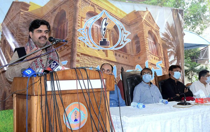 Sindh Minister for Information and Local Government Syed Nasir Hussain Shah speaking during Meet the Press at Press Club