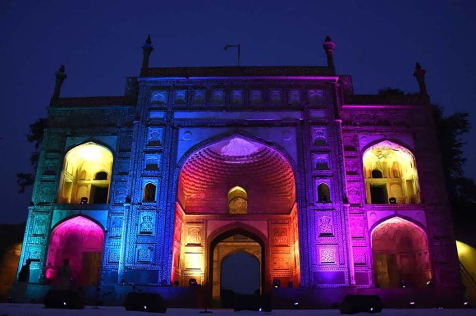 A view of Jahangir tomb decorated with colourful lights in connection with Shan-e-Rehmatul Lil Alameen (SAWW) Week celebrations
