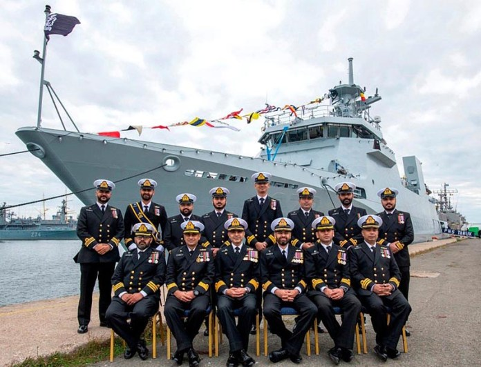 A group photo of Pakistan Navy Ship TABUK (F-272) command and officers during commissioning ceremony at Black Seaport of Romania