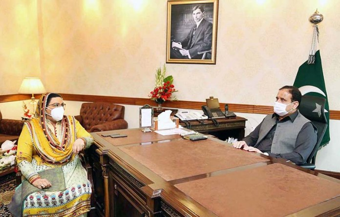 LAHORE: November 03 - Punjab Chief Minister Sardar Usman Buzdar in a meeting with Special Assistant to CM for Information Dr. Firdous Ashiq Awan. APP