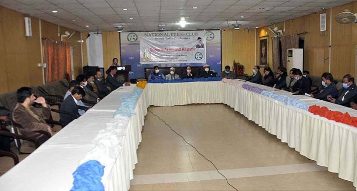 """APHC leaders and others attending the Round Table Conference titled """"Quaid-e-Azam and Kashmir"""" to mark birth anniversary of Quaid-e-Azam, Founder of Pakistan at National Press Club"""