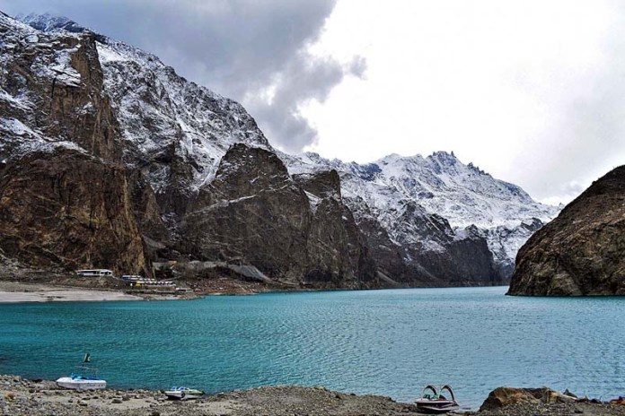 HUNZA: December 17 – A view of Atta-Abad Lake in Gojal Valley, Hunza, Gilgit Baltistan, Pakistan. The lake was created in January 2010 as a result of the Atta-Abad Disaster. Atta-Abad Lake has become one of the biggest tourist attractions in Gilgit-Baltistan offering activities like boating, jet skiing, fishing and other recreational activities and with the rise in tourism, an increasing number of hotels and guesthouses around the lake, as well as a handful of campsites. Atta-Abad Lake is about half an hour east of Karimabad, the capital of the Hunza District in the Gilgit-Baltistan province of Pakistan (Karimabad, incidentally, was named one of the five
