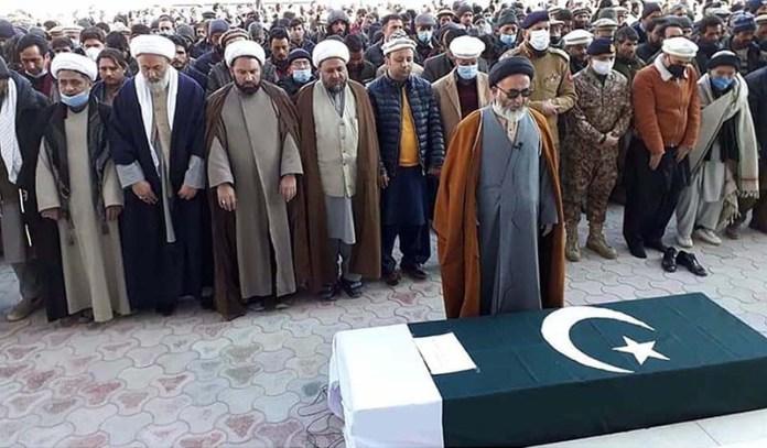 FCNA Force Commander Jawad Qazi along with the other offering funeral prayers of martyr Major Husssain Irshad Moundoq who embraced shahadat due to army aviation copper crash in Minimarg