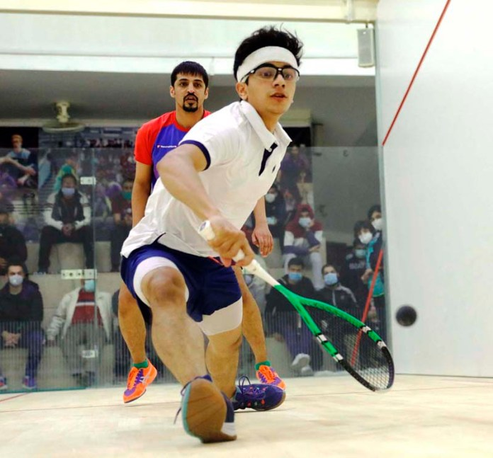 Player in action during Pakistan International Squash Tournament for Men & Women at Mushaf Squash Complex organized by Pakistan Squash Federation (PSF)