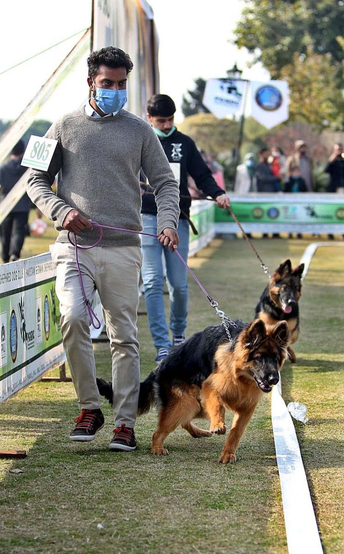 People along with their dogs participating in Dog Show competition at Jinnah Park