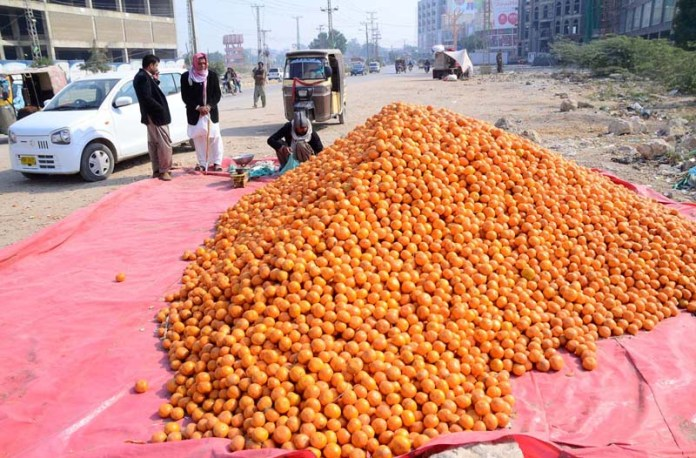 Vendor displaying the seasonal fruit orange to attract the customers along the road at Fateh Chowk
