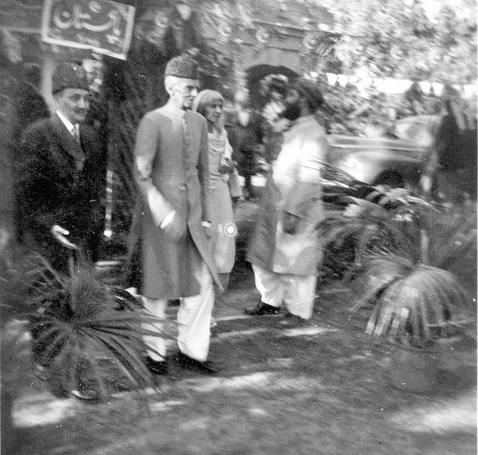 "Hardly seen before, the perfect composition of a photograph of ""Father of the Nation"" Muhammad Ali Jinnah and ""Mother of the Nation"" Fatima Jinnah, walking out from under a freshly painted ""Pakistan"" sign was taken on the 12th day of April in 1948, after an address at the Islamia College in Peshawar. The photographer of this magnificent image was Muhammad Yusuf, then a 17 year old student at the College, who went on to become a professional Chemist and a lifelong Amateur Photographer. Muhammad Yusuf, now 89 years old, has clicked together a colossal personal photographic collection that now numbers in tens of thousands of portraits, events, people, still life, locations, architecture and scenes from the world over. (Match the photograph with APP story slugged ""Yusuf, an unsung personality shares rare photographs of Quaid, Fatima with heavy heart"