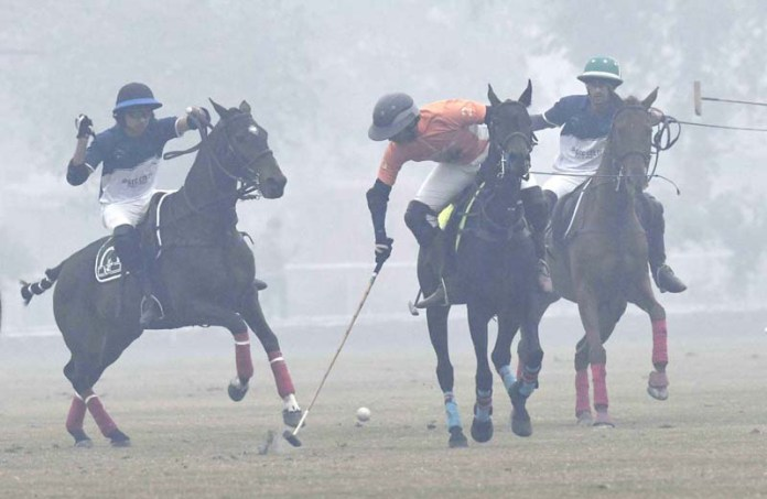 A view of final match of Sarsabz Pakistan Under 19 Polo Cup between LPC Remington Pharma and JPCC Colts polo teams at Jinnah Polo and Country Club. Remington Pharma Polo Team wins the match with 7-4