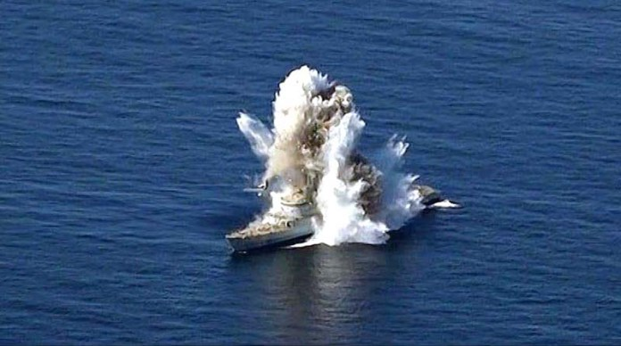 Target sinking after successful hit from Pakistan Navy Submarine in North Arabian Sea