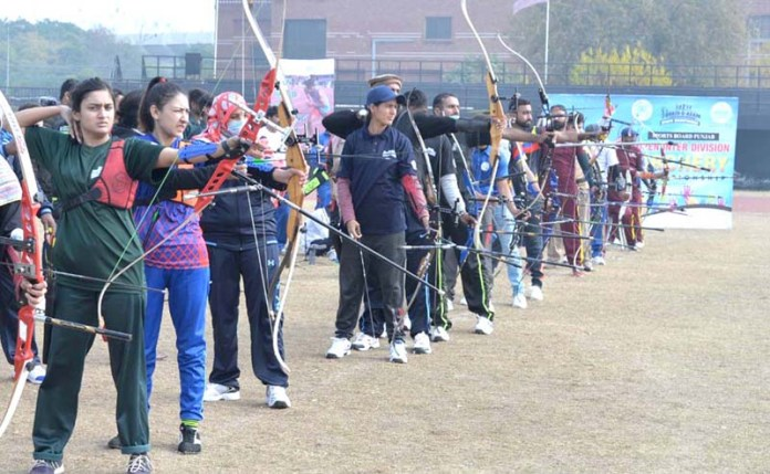 Archers aiming the target during First Quaid-e-Azam Open Inter Division Sports Championship organized by Sports Board Punjab