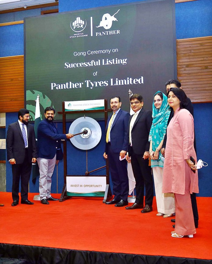 Pakistan Stock Exchange (PSX) held a Gong Ceremony to mark the listing of Panther Tyres Ltd. The gong struck by CEO Panther Tyres Ltd. Mian Faisal Iftikhar in presence of Managing Director Pakistan Stock Exchange Farrukh H Khan and Senior Management members of both organizations at PSX