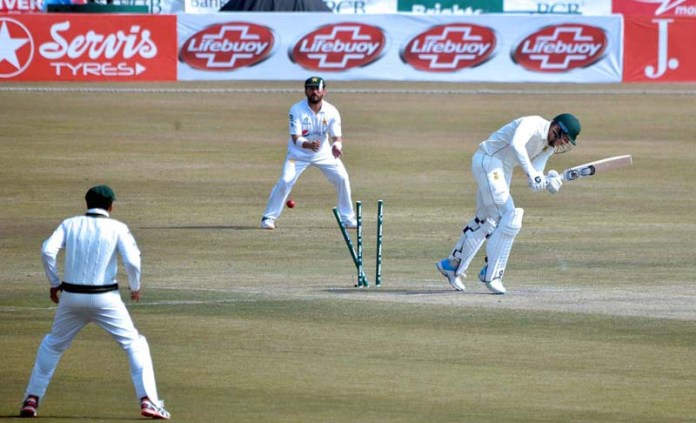 A view of 2nd Test Cricket Match playing between Pakistan and South African cricket teams at Pindi Cricket Stadium