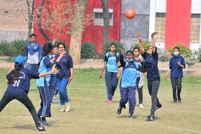A view of Netball match playing between Government Girls Higher Secondary School Tulamba and Government Junior Model Girls High School Chungi No. 6 during Inter District Schools Tournament at BISE ground