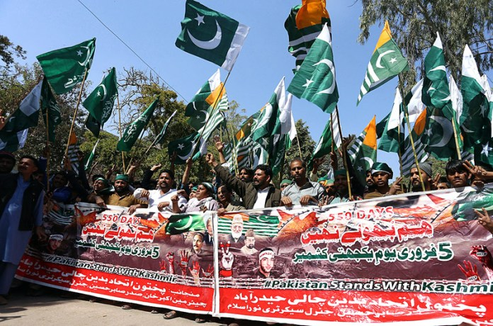 Pakhtoon Ittehad Workers participating in a rally to mark Kashmir Solidarity Day outside Press Club