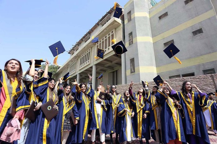 Students throwing caps in the air in traditional way during ISRA University 18th convocation 2021 at Hala Naka