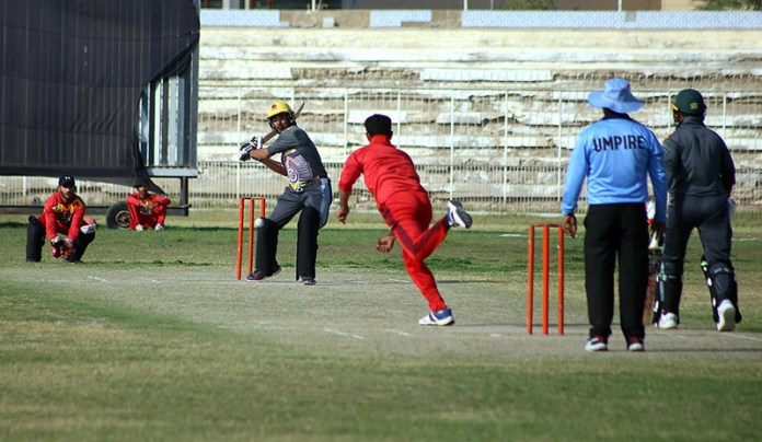 A view of final cricket match between Nawab Shah Cricket Club & Hyderabad cricket teams during All Pakistan S&S T-20 League Cricket Championship 2021. Hyderabad won the match by three wickets at Niaz Cricket Stadium