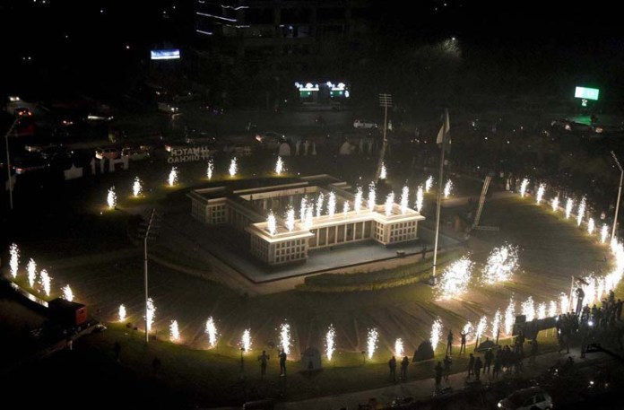 An attractive view of fireworks during inauguration of 6 th PSL trophy at Laberty roundabout