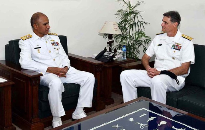 Deputy Commander US NAVCENT called on Chief of the Naval Staff Admiral Muhammad Amjad Khan Niazi during ongoing Multinational Maritime Exercise AMAN-21