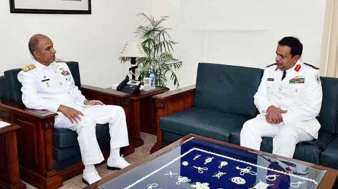 Deputy Commander RSNF Eastern Fleet called on Chief of the Naval Staff Admiral Muhammad Amjad Khan Niazi during ongoing Multinational Maritime Exercise AMAN-21