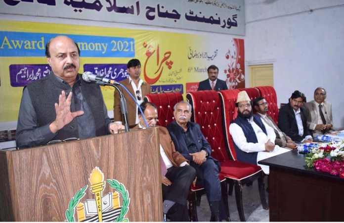 Minister for Special Education Chaudhry Muhammad Akhlaq addressing during the awards ceremony at Government Jinnah Islamia College