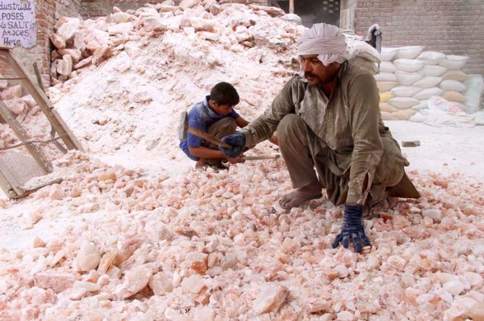 Labourers busy in crushing salt into pieces at their workplace
