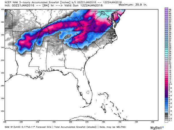 NAM 12 KM Model Total Snowfall Forecast