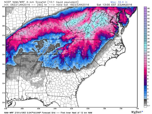 NAM 4 KM Model Total Snowfall Forecast ( 1 AM Run )