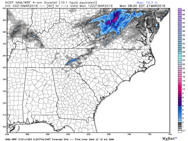 NAM 4 KM Model Total Snowfall Forecast