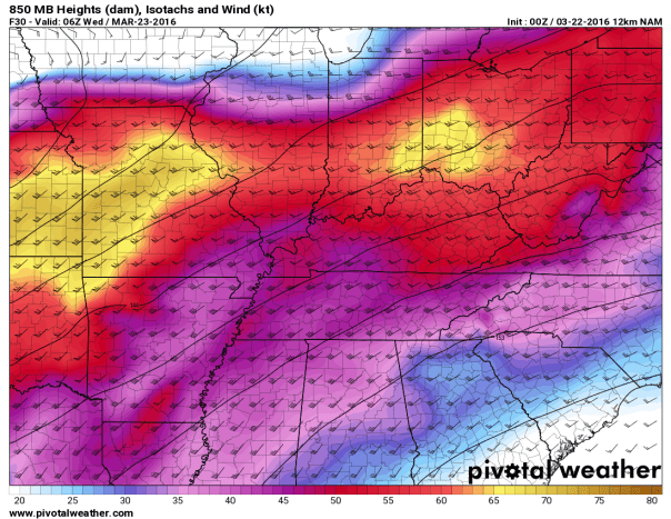 NAM 12 KM Model 850 MB Wind Field Forecast