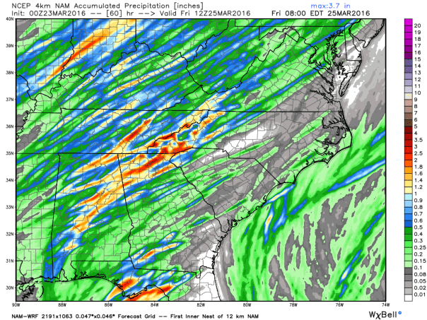 NAM 4 KM Model Total Rainfall