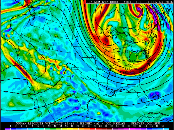 NAM Model 500 MB Vorticity Forecast