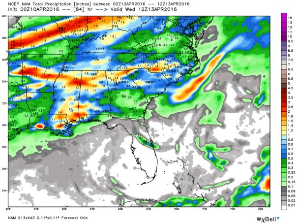 NAM 12 KM Model Total Precipitation