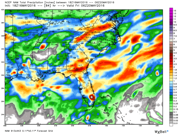 NAM 12 KM Model Rainfall Forecast Next 84-Hours
