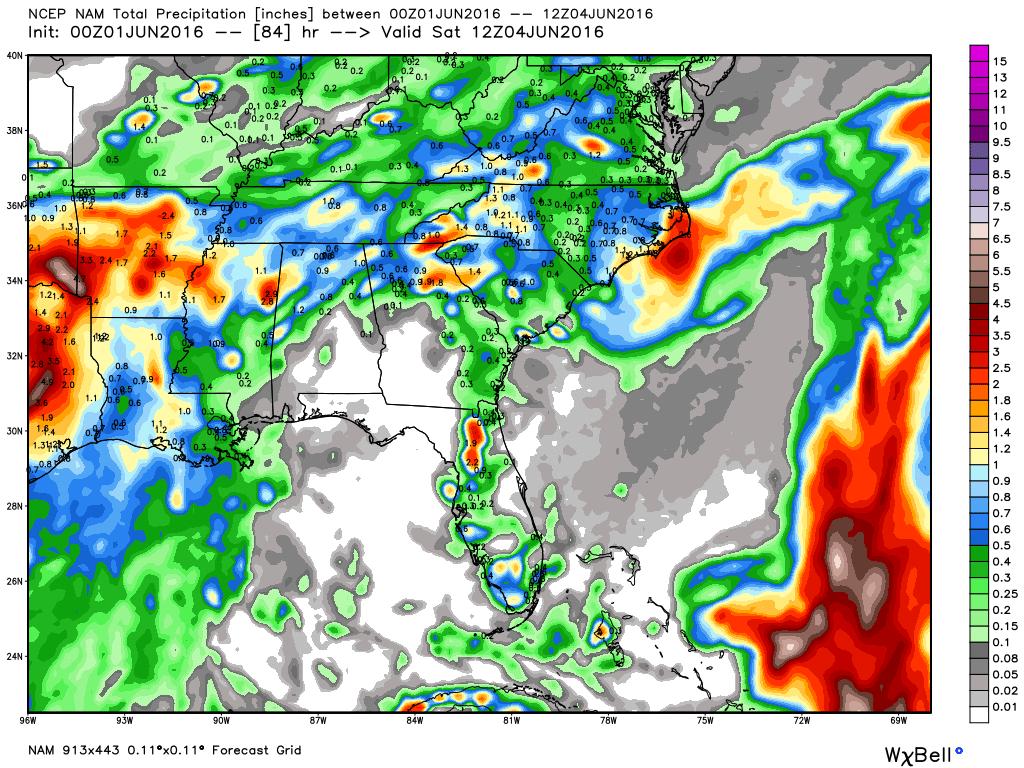 Nam 12 Km Model Total Rainfall Forecast To 8 Am Saay June 4 2016