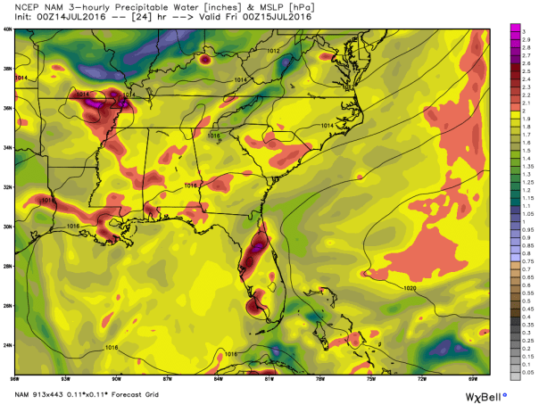 NAM 12 KM Model Precipitable Water Forecast