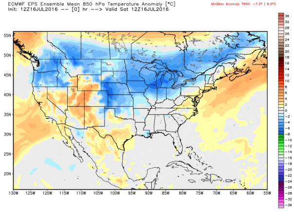 European Ensembles MEAN 850 MB Temp Anomalies At 8 AM Saturday