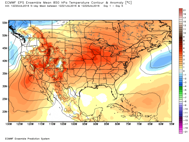 European 51-Member 850 MB MEAN Temp Anomalies Forecast Days 1-5