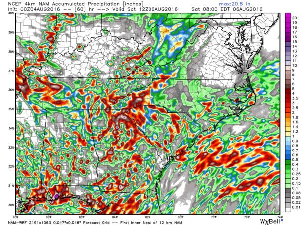 NAM 4 KM Model Total Rainfall Forecast