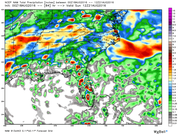 NAM 12 KM Model Total Rainfall Forecast