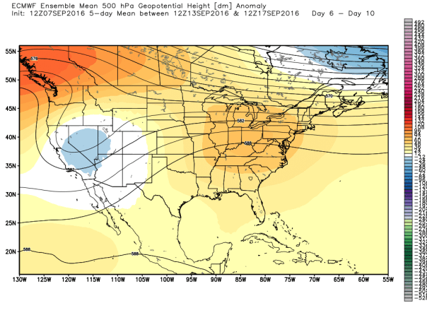 European 51-Member Ensemble MEAN 500 MB Height Anomaly Forecast