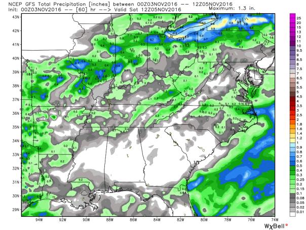GFS Model Total Rainfall Forecast