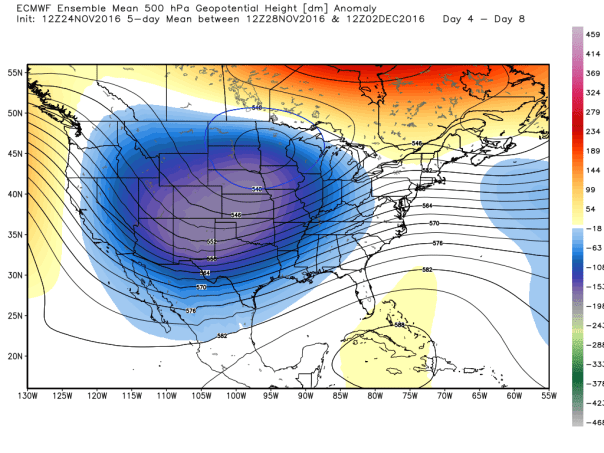 European Ensemble MEAN 500 MB Height Anomalies