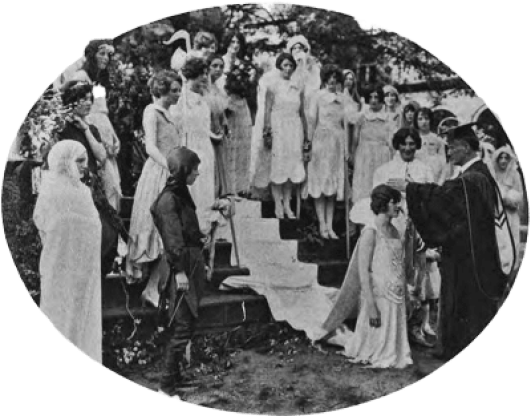 Brenau College student Candace Bryant Smith and attendants at the school's 1926 May Day festival in Gainesville, Georgia.