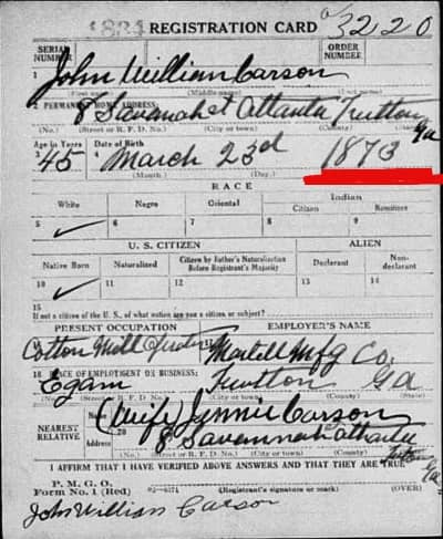 John Carson's 1918 draft card. Note that he puts birth date as 1873, not 1874.