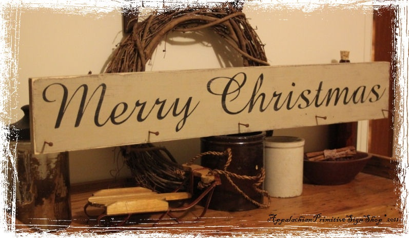 Merry Christmas Stocking Hanger With Primitive Nails Wood