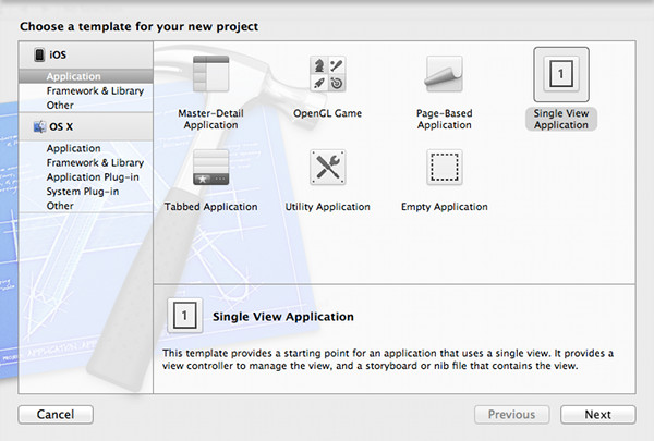 New Xcode Project using Single View Template