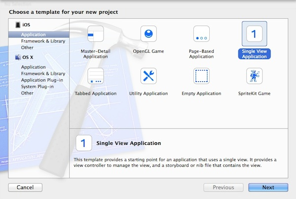 Xcode Project Template Selection